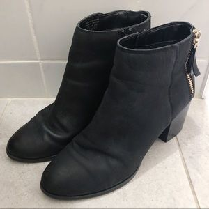 Aldo Black Matte Leather Booties